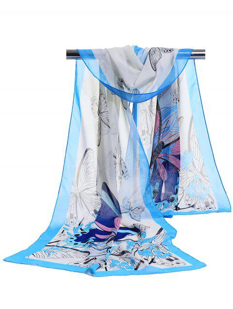 Flying Butterfly Floral Pattern Lightweight Chiffon Scarf - AZURE