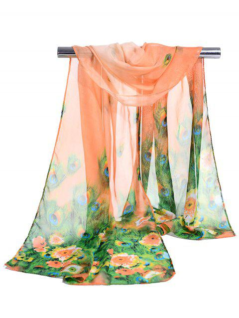 Peacock Feathers Pattern Soft Silky Scarf - SNOW BUD COLOR