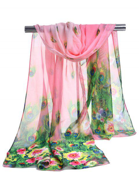 Peacock Feathers Pattern Soft Silky Scarf - PINK