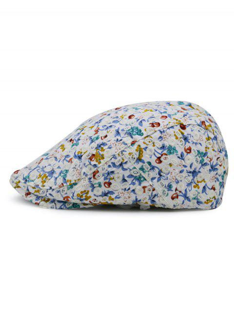 Flourishing Flower Pattern Embellished Cabbie Hat - WHITE