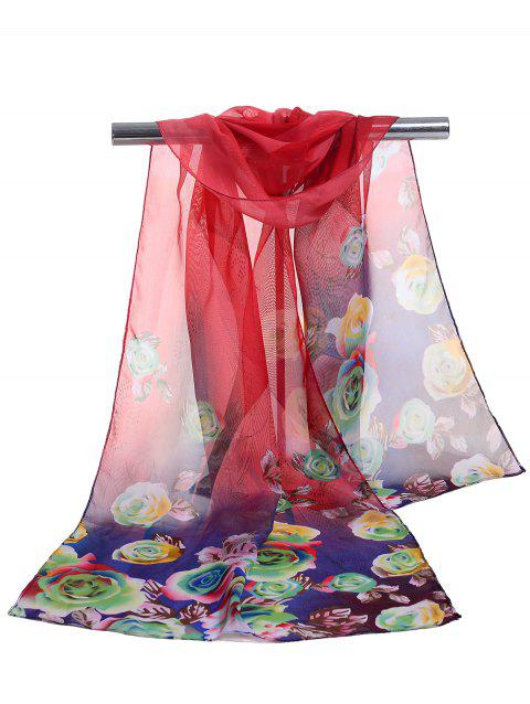 Lightweight Floral Pattern Spring Fall Scarf - RED
