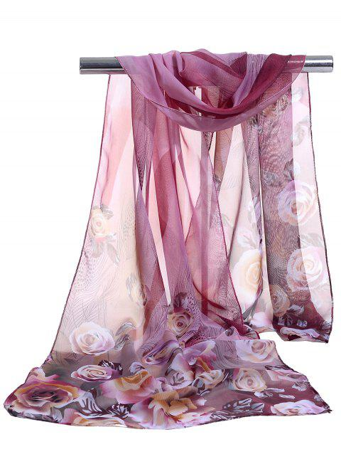 Lightweight Floral Pattern Spring Fall Scarf - PURPLE