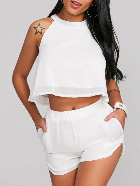 Crop Top With Chiffon High Waist Shorts - WHITE L