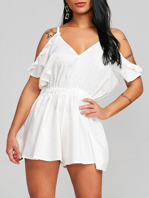 Cami Open Shoulder Cut Out Romper - WHITE XL