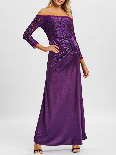 Off The Shoulder Long Party Dress - VIOLET L