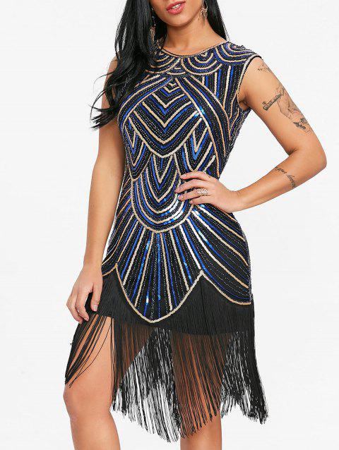 Sequined Fringe Midi Bodycon Dress - BLUE/GOLDEN S