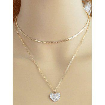 Heart Shape Sparkle Faux Diamond Pendant Necklace Set - GOLDEN