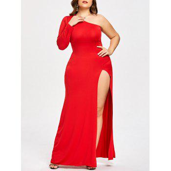 Plus Size One Shoulder High Slit Formal Dress by Dress Lily
