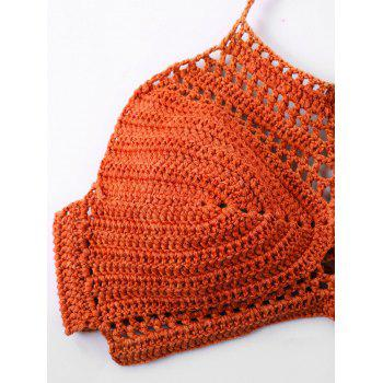 Crochet Halter Knit Bikini Set - ORANGE RED M