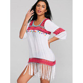 Fringed Shift Crochet Panel Cover Up Dress - WHITE ONE SIZE
