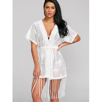 Ceinturé See Through Through Fringed Cover Up - Blanc ONE SIZE
