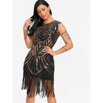 Sequined Fringe Midi Bodycon Dress - RED / GOLDEN M