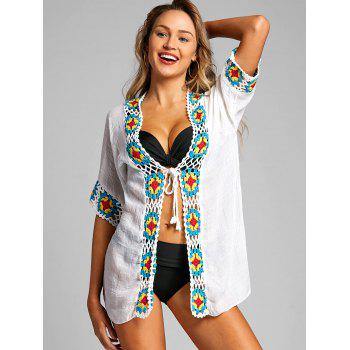 Tie Up Crochet Trimmed Boho Cover Up - WHITE ONE SIZE
