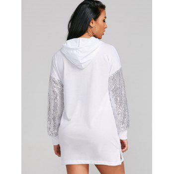 Sequins Sleeve Casual Hoodie Dress - WHITE M