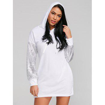 Sequins Sleeve Casual Hoodie Dress - WHITE L