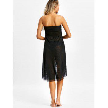 Layered Mesh Strapless Cover Up Dress - BLACK S
