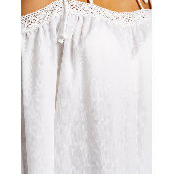 Open Shoulder Flare Sleeve Cover Up Top - WHITE S