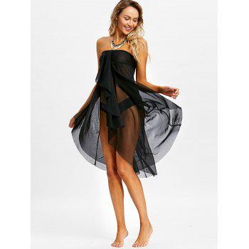 Layered Mesh Strapless Cover Up Dress - BLACK L