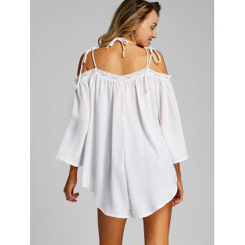 Open Shoulder Flare Sleeve Cover Up Top - WHITE L