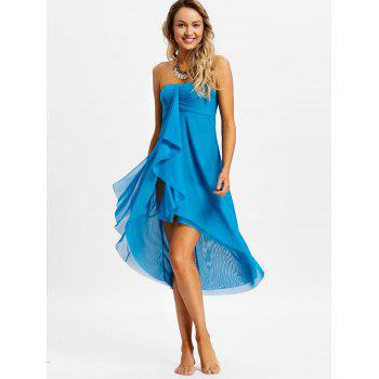 Layered Mesh Strapless Cover Up Dress - BLUE L