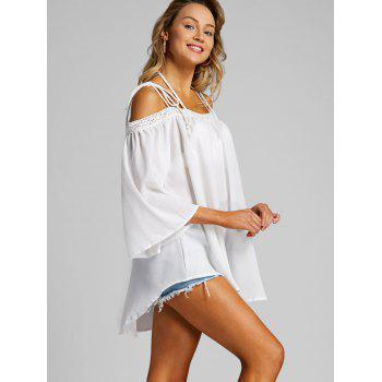 Open Shoulder Flare Sleeve Cover Up Top - WHITE XL