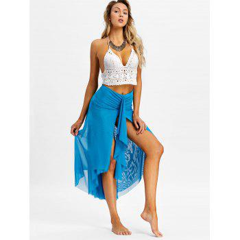 Layered Mesh Strapless Cover Up Dress - BLUE S
