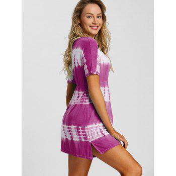 Tie Dye Plunging Neck Beach Dress - PURPLE S