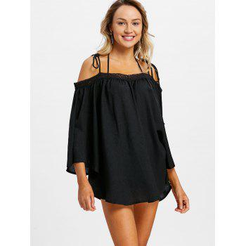 Open Shoulder Flare Sleeve Cover Up Top - BLACK S