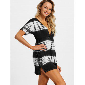 Tie Dye Plunging Neck Beach Dress - BLACK XL