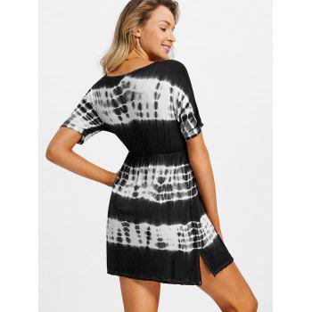 Tie Dye Plunging Neck Beach Dress - BLACK M