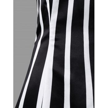 Vertical Stripe Spaghetti Strap Midi Dress - COLORMIX L