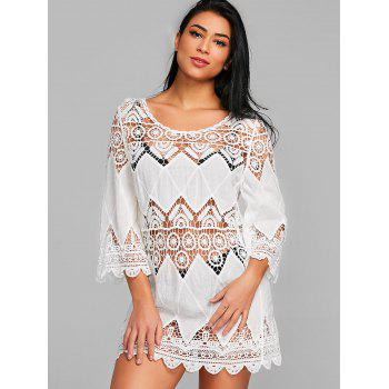 Crochet Beach Cover Up Dress - WHITE ONE SIZE