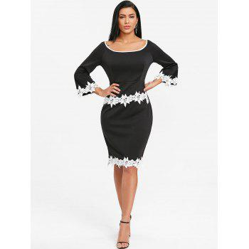 Crochet Trimmed Flare Sleeve Bodycon Dress - BLACK M