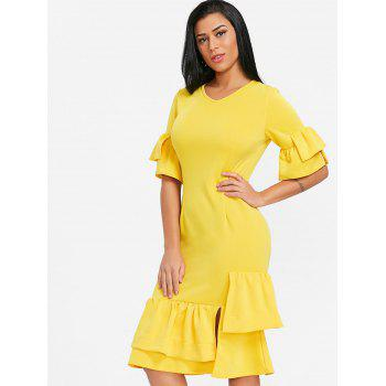 Layered Ruffles Flare Sleeve Midi Dress - YELLOW L