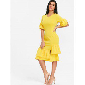 Layered Ruffles Flare Sleeve Midi Dress - YELLOW XL