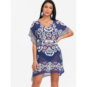 Tribal Print Chiffon Kaftan Beach Dress - BLUE ONE SIZE