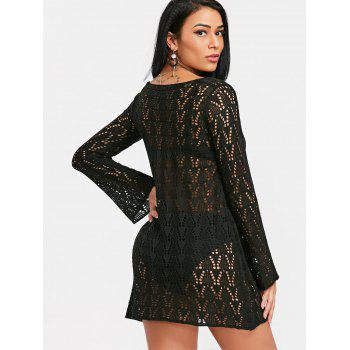 Crochet Lace Up Cover Up Dress - Noir ONE SIZE