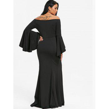 High Slit Off The Shoulder Prom Dress - BLACK L