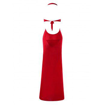 Sheer Halter Neck Maxi Plunging Lingerie Dress - RED ONE SIZE