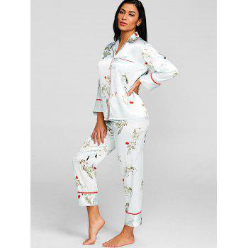 Top pyjama en satin fleur et pantalon - LIGHT GREEN L