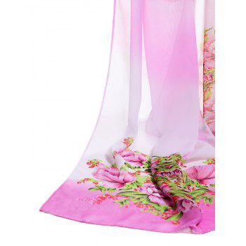 Vintage Floral Pattern Printed Soft Chiffon Scarf - PINK
