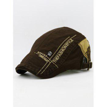 Unique Skull Rivet Pattern Decorated Newsboy Cap - CAPPUCCINO