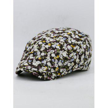 Flourishing Flower Pattern Embellished Cabbie Hat - CAPPUCCINO