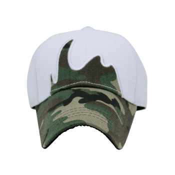 Unique Camou Pattern Embellished Baseball Cap - WHITE