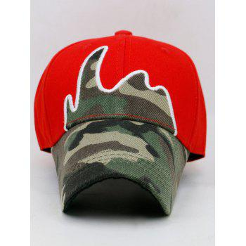 Unique Camou Pattern Embellished Baseball Cap - RED