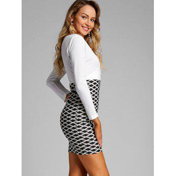 V Neck Argyle Print Party Dress - BLACK WHITE S