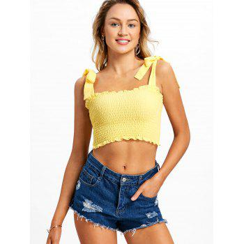 Shirred Frill Crop Top - YELLOW S