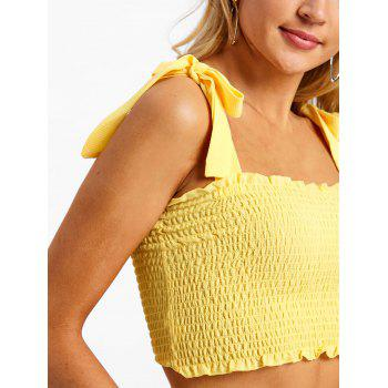 Shirred Frill Crop Top - YELLOW M
