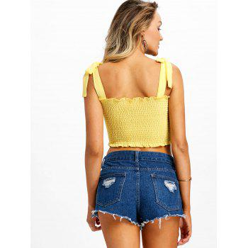 Shirred Frill Crop Top - YELLOW L