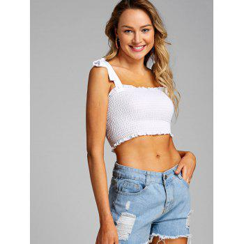 Shirred Frill Crop Top - WHITE L
